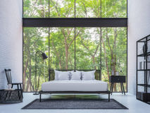 Modern loft bedroom with nature view 3d rendering image Royalty Free Stock Images