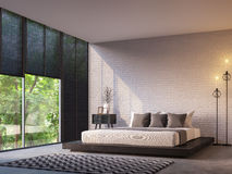 Modern loft bedroom with nature view 3d rendering image Stock Image