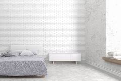 The modern of loft bedroom white brick wall and old concrete design , 3D render image Royalty Free Stock Photos