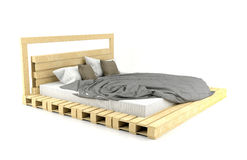 Modern and Loft design wooden bed on white background Royalty Free Stock Images