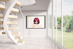 Modern loft with image. And green exterior Royalty Free Stock Photos