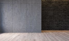 Modern loft interior with architecture concrete cement wall panels, brick wall, concrete floor. Empty room, blank wall. 3d render illustration mockup vector illustration