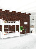 Modern loft interior baby room or nursery with eclectic wall with space. 3D rendering. Modern design loft interior bedroom or living room with eclectic wall Stock Image