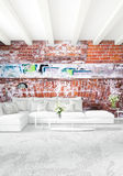 Modern loft interior bedroom or living room with eclectic wall with space. 3D rendering. Stock Photos