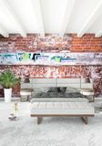 Modern loft interior bedroom or living room with eclectic wall with space. 3D rendering. Royalty Free Stock Photo