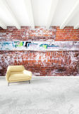 Modern loft interior bedroom or living room with eclectic wall with space. 3D rendering. Modern design loft interior bedroom or living room with eclectic wall Royalty Free Stock Photo