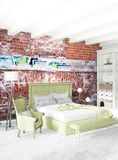 Modern loft interior bedroom or living room with eclectic wall with space. 3D rendering. Modern design loft interior bedroom or living room with eclectic wall Stock Photography