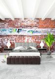 Modern loft interior bedroom or living room with eclectic wall with space. 3D rendering. Royalty Free Stock Images