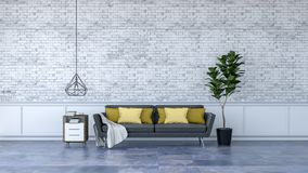 Modern loft interior design ,black furniture on marble flooring and white brick wall /3d render vector illustration