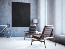 Modern loft interior with chairs and blank frame. 3d rendering. Modern loft interior with chairs and blank frame on the wall. 3d rendering Stock Photo