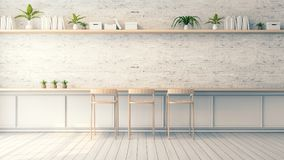 Modern loft interior design , wood bar stool and white brick wall design ,vintage style, 3d render. Modern loft interior design , wood bar stool and white brick Stock Photo