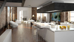 Modern loft with a kitchen. 3d rendering Stock Photo