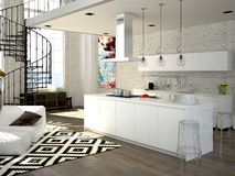 Modern loft with a kitchen. 3d rendering Royalty Free Stock Photos