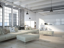 Modern loft with a kitchen .3d rendering Stock Photography