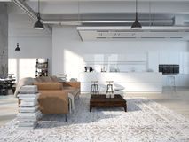 Modern loft with a kitchen .3d rendering Stock Image