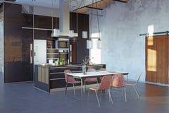 Modern loft kitchen interior. Stock Illustration