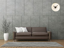 Modern loft living with brown leather sofa 3d rendering image. There is a polished concrete wall with groove wood floors and decorate wall with hiding clock Stock Image