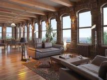 Modern loft. A modern loft with living room Royalty Free Stock Photo