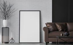 Modern loft living room 3d rendering image Stock Images