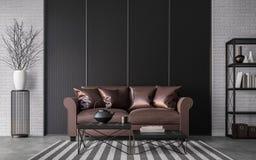 Modern loft living room 3d rendering image vector illustration