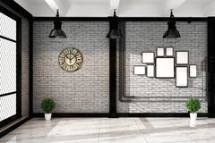 Modern loft living room with frame lamp and plnts, empty white brick wall - granite floor, Mock up interior. 3D rendering. Mock up Modern loft living room with stock illustration