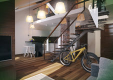 Modern loft Living room interior. Modern loft Living room interior, with bicycle and brick wall Royalty Free Stock Image