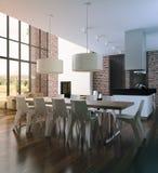 Modern loft Living room interior. stock image