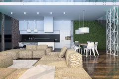 Modern loft Living room interior. 3d rendering.Modern loft Living room interior, with big sofa, white luxury kitchen and green wall Stock Photography