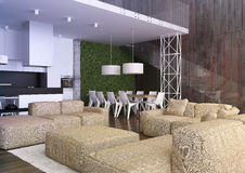 Modern loft Living room interior. 3d rendering.Modern loft Living room interior, with big sofa , wooden wall and stairs Royalty Free Stock Photo