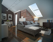Modern loft Living room interior. Royalty Free Stock Photography