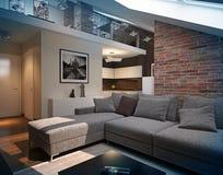 Modern loft Living room interior. 3d rendering.Modern loft Living room interior, with grey sofa and brick wall Royalty Free Stock Images
