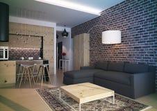 Modern loft Living room interior. 3d rendering.Modern loft Living room interior, with grey sofa and brick wall Royalty Free Stock Photos