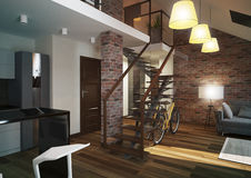 Modern loft Living room interior. Stock Images
