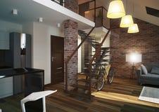 Modern loft Living room interior. Modern loft Living room interior, with grey sofa and brick wall Stock Images