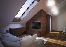 Modern loft Living room interior. Modern loft Living room interior, with grey sofa and wooden wall Stock Images
