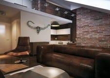 Modern loft Living room interior stock photography