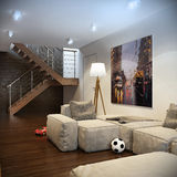 Modern loft Living room interior Royalty Free Stock Photography