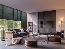 Modern loft living room with nature view 3d rendering image Royalty Free Stock Photo