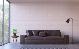 Modern loft living room with nature view 3d rendering image royalty free illustration