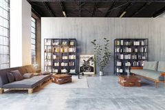 Modern loft lving room. Stock Illustration