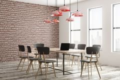 Modern meeting room. Modern loft meeting room interior with furniture, equipment, city view and daylight. 3D Rendering Stock Image