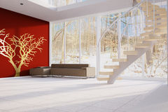 Modern Loft with red wall Stock Image