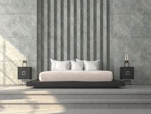 Modern loft style bedroom 3d render,There concrete tile floor,polished concrete wall. With horizon groove and virtical column pattern,furnished with black wood stock illustration