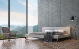 Modern loft style bedroom with mountain view 3D rendering image. There are polished concrete walls and wooden floors. There are large windows that offer endless stock illustration