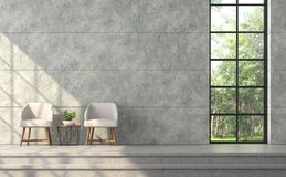 Modern loft style living room with polished concrete wall 3d render. Modern loft style living room 3d render.There are polished concrete wall with groove vector illustration