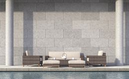Modern loft style pool terrace 3d rendering image. There are concrete walls grooved in the pattern of brick.furnished with rattan furniture Royalty Free Stock Photos