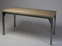 Modern loft wooden table studio shot Stock Photos