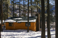 Modern Log Cabin Home In The Winter Woods. New modern log cabin home in the snowy woods of the White Mountains in mid-eastern Arizona, USA royalty free stock images