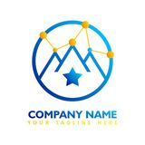 Modern logo concept of global network with blue and orange color vector illustration