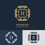 Modern logo design. Geometric linear monogram template. Letter emblem H, D, K. Mark of distinction. Universal business sign Stock Images